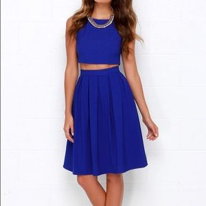 Royal blue two piece midi dress